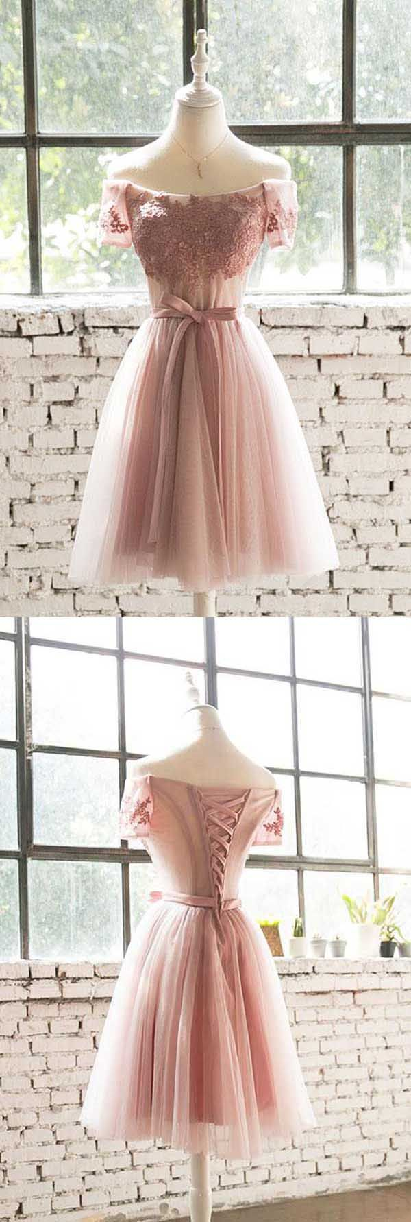 Off the shoulder pink lace tulle short prom dress homecoming dress