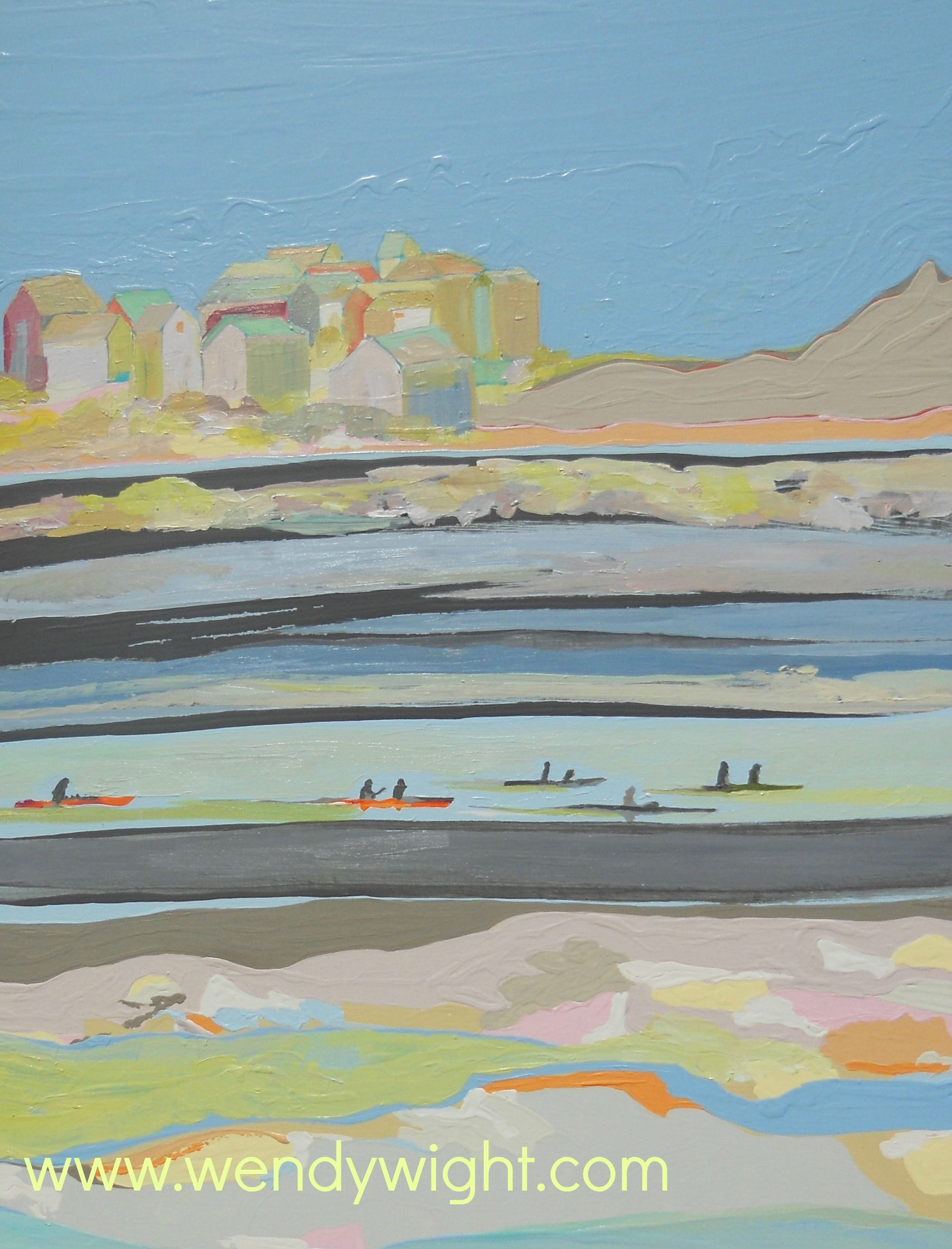 Village, Acrylic on Canvas painting, 40 x 30.  Kayak boats ocean, houses with blue sky and beach. $400 Wendy Wight, Artist http://www.wendywight.com