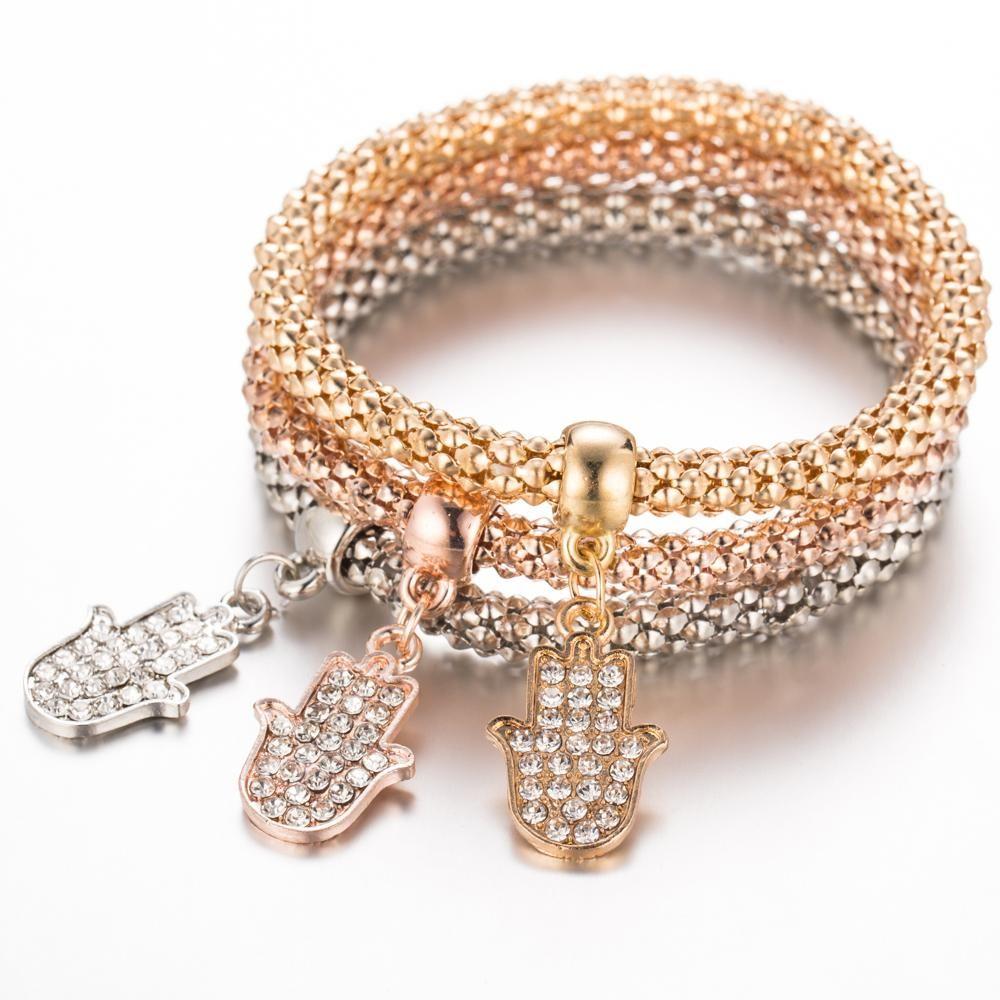 Tomtosh pcset palm bracelets women rose gold crystal jewelry