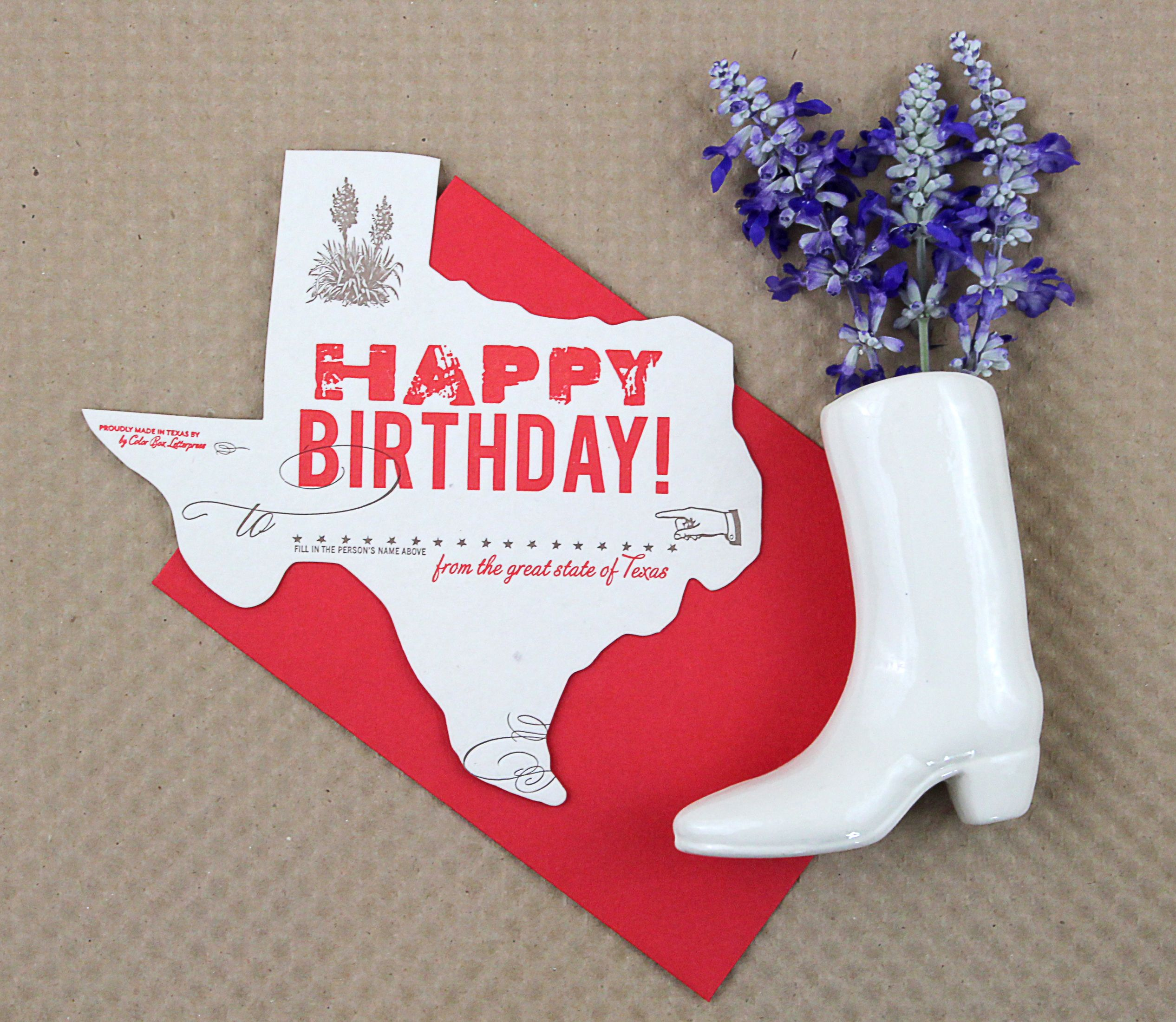 Texas birthday greeting card letterpress birthday greeting texas happy birthday greeting card letterpress die cut bookmarktalkfo Gallery