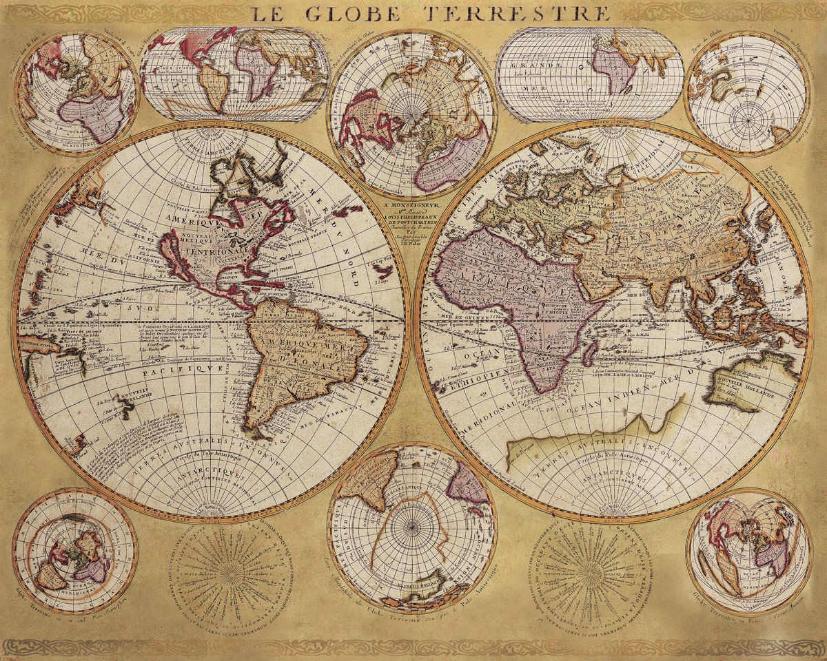 Historic World 1690   Le Globe Terrestre   Giclee Wall Map   Mapas     Historic World 1690   Le Globe Terrestre   Giclee Wall Map