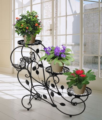 metal plant stand garden yard flower patio decor planter 3 tier rh pinterest com