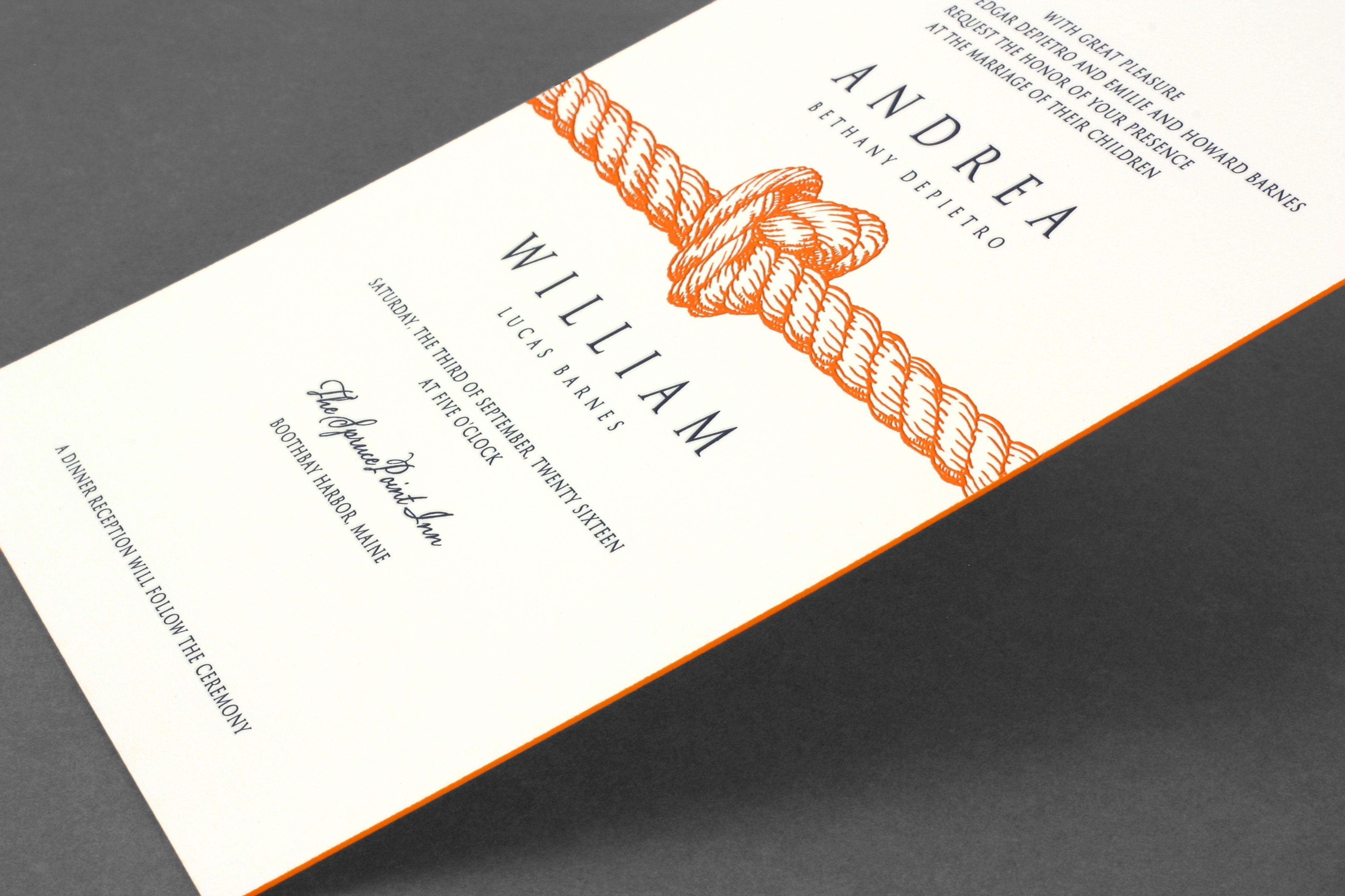 Vera Wang heavyweight painted edge wedding invitation with a ...
