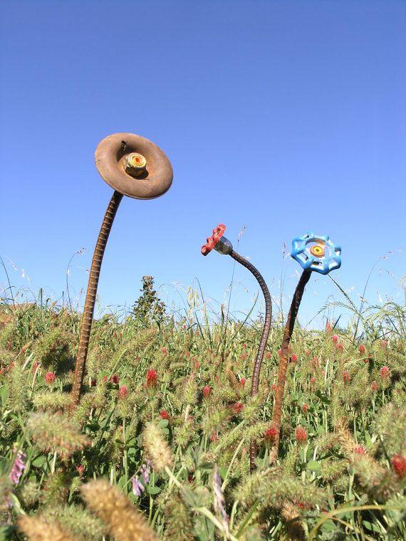 industrial garden decor metal flower art rebar found objects