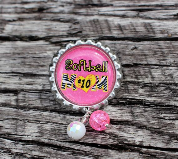Softball Mom Bottle Cap Pin by 4EverAlwaysDesigns on Etsy, $12.00