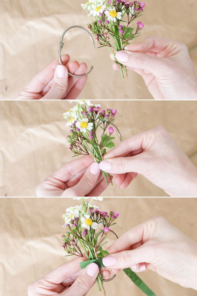 How to arrange and attach fresh flowers