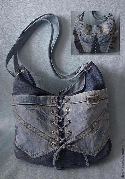 Женские сумки ручной работы. Ярмарка Мастеров - ручная работа. Купить Сумка джинсовая двусторонняя-1. Handmade. Синий