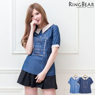 RingBear - Embroidered Short-Sleeve Collared Top