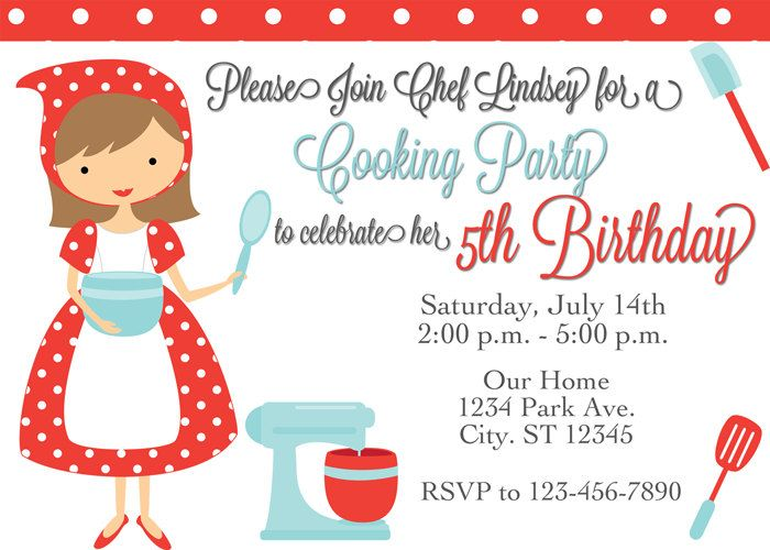 17 Best images about Birthday Ideas for Bailey – Cooking Birthday Party Invitations