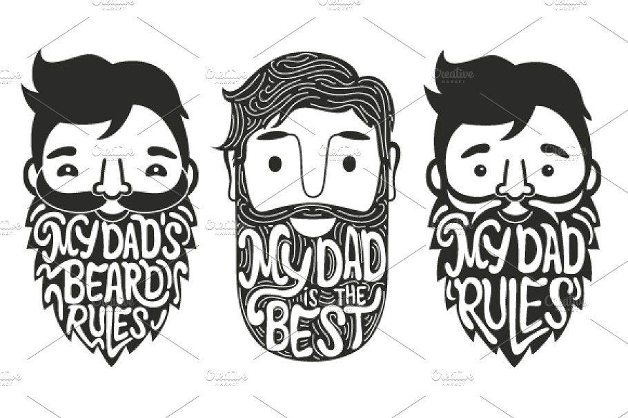 Download Big bearded set | Dad drawing, Beard illustration ...