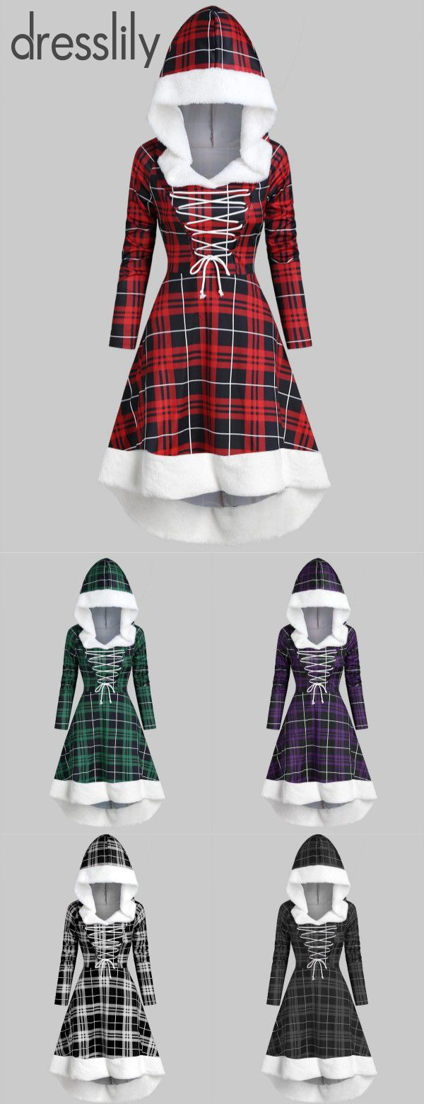 $24.99 Plaid Faux Fur Insert Hooded Lace Up High Low Dress