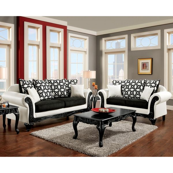 furniture of america duality 2 piece black and white sofa set the rh pinterest ca