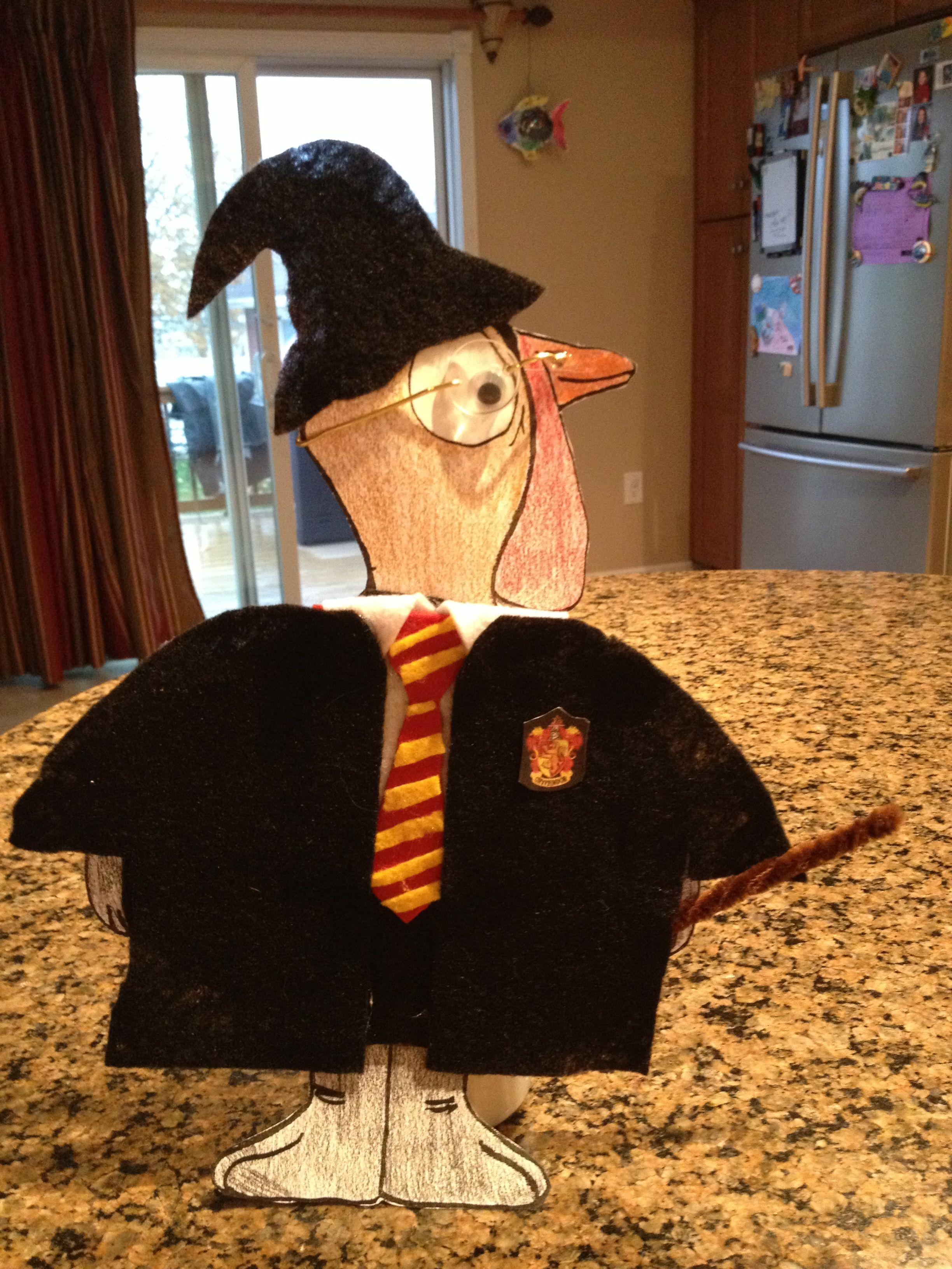 Rachel Had To Disguise Tom Turkey Before Thanksgiving Looks Like He Will Be Hiding Out At Hogwarts See Turkey Disguise Project Turkey Disguise Turkey Project