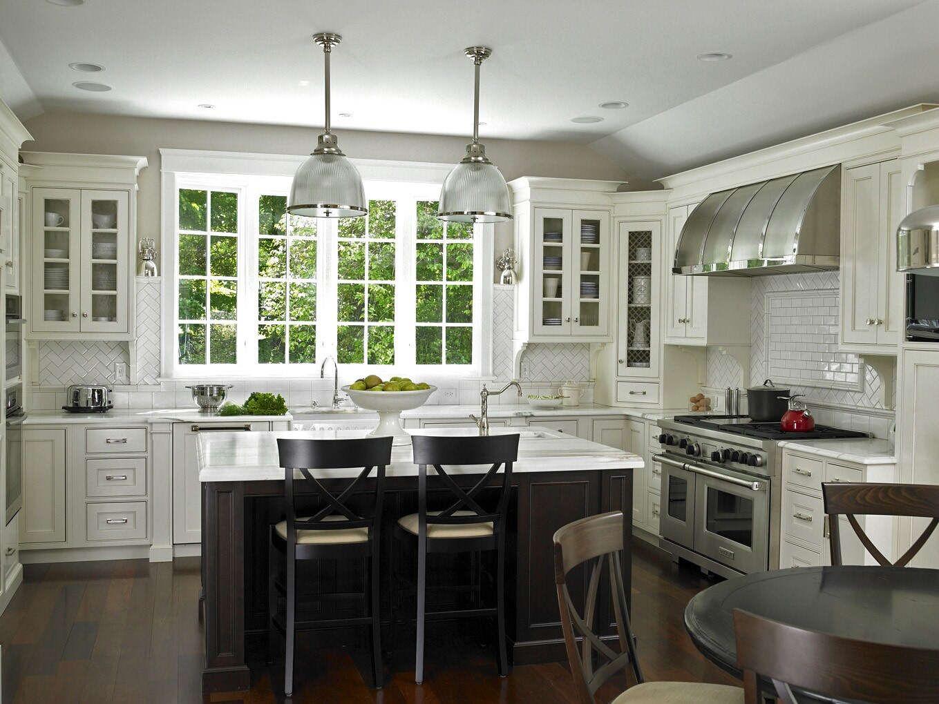 White Kitchen Cabinets Furnished White Subway