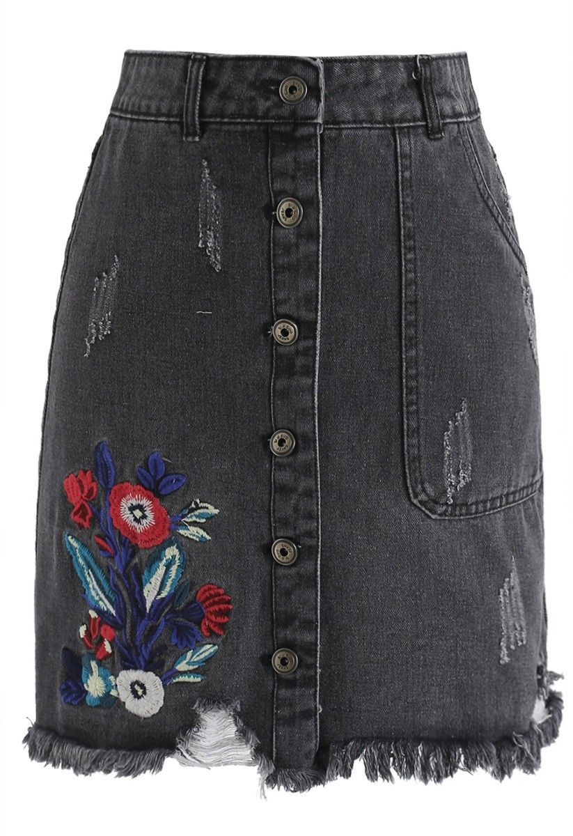 2b255e6cb8 Floral Adventure Embroidered Denim Skirt in Fade Black - NEW ARRIVALS -  Retro