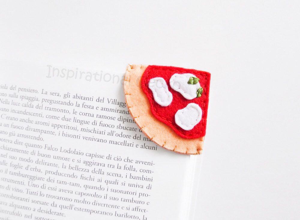 Felt Pizza Bookmark, italian pizza slice corner bookmark, school supply gift idea, funny accessory for book lovers, felt food, kids fun gift by InspirationalGecko on Etsy https://www.etsy.com/listing/232911674/felt-pizza-bookmark-italian-pizza-slice