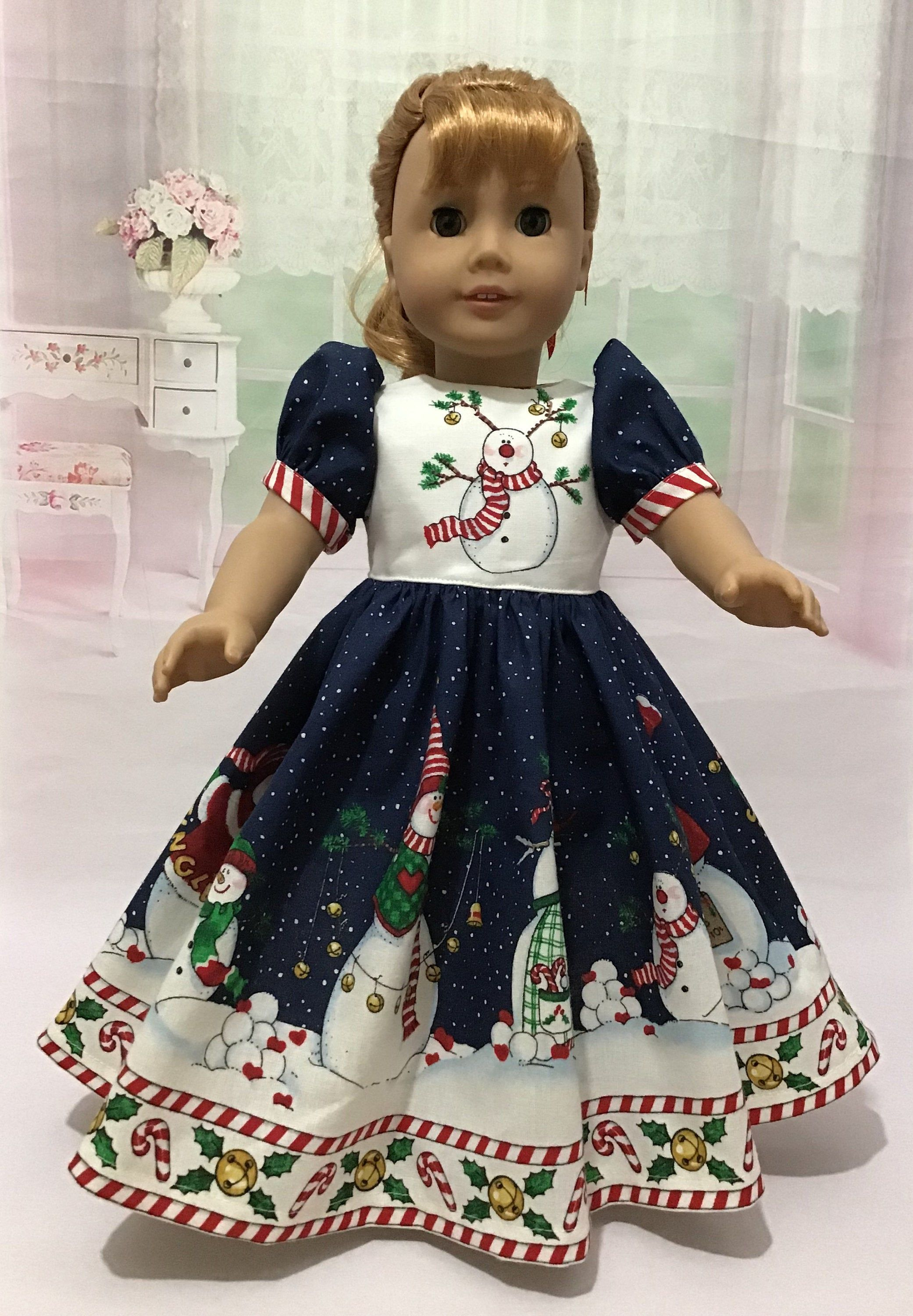 18 inch doll Christmas dress. Fits American Girl Dolls. Daisy Kingdom Heaven and Nature Sing border print #18inchdollsandclothes