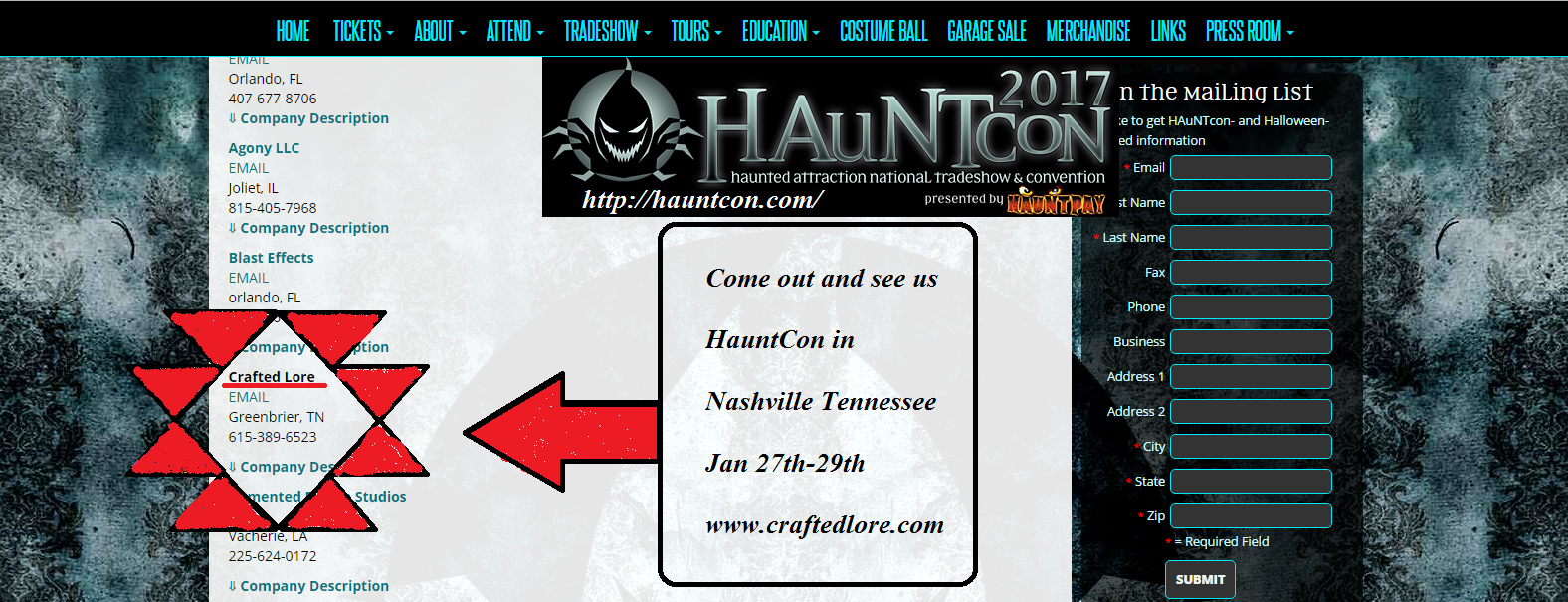 Crafted Lore will be attending the Nashville Tennessee HauntCon (http://hauntcon.com/) Jan 27th-29th.......Come out and see us! www.craftedlore.com
