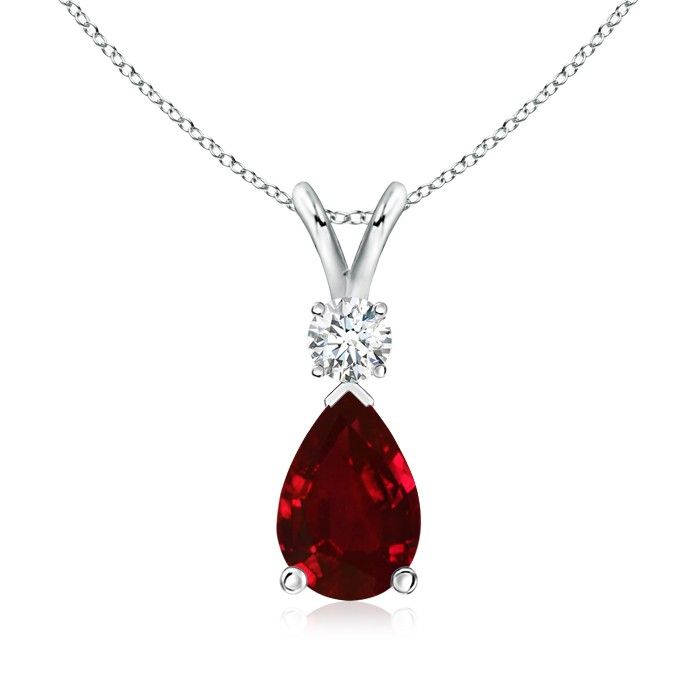 Angara Oval Ruby Antique Necklace in 14k White Gold - July Birthstone Pendant