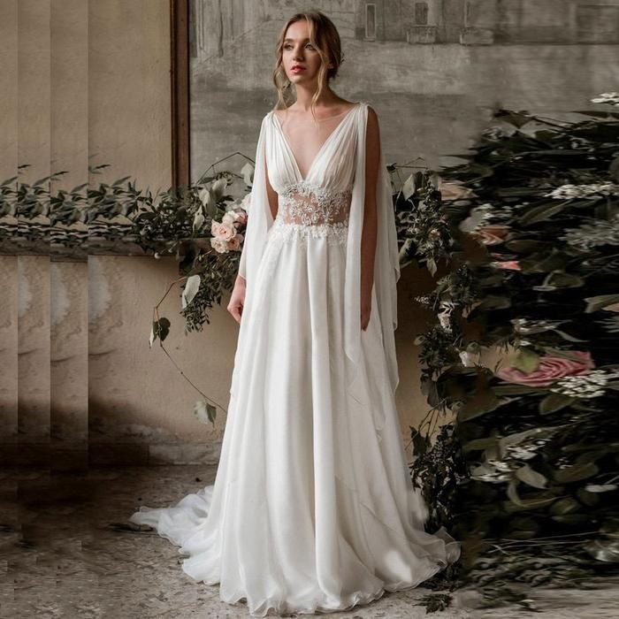 LORIE Beach Wedding Dress 2019 Cap Sleeve A-Line Chiffon Appliques Lace Princess Bride Dress Arabic Wedding Gown