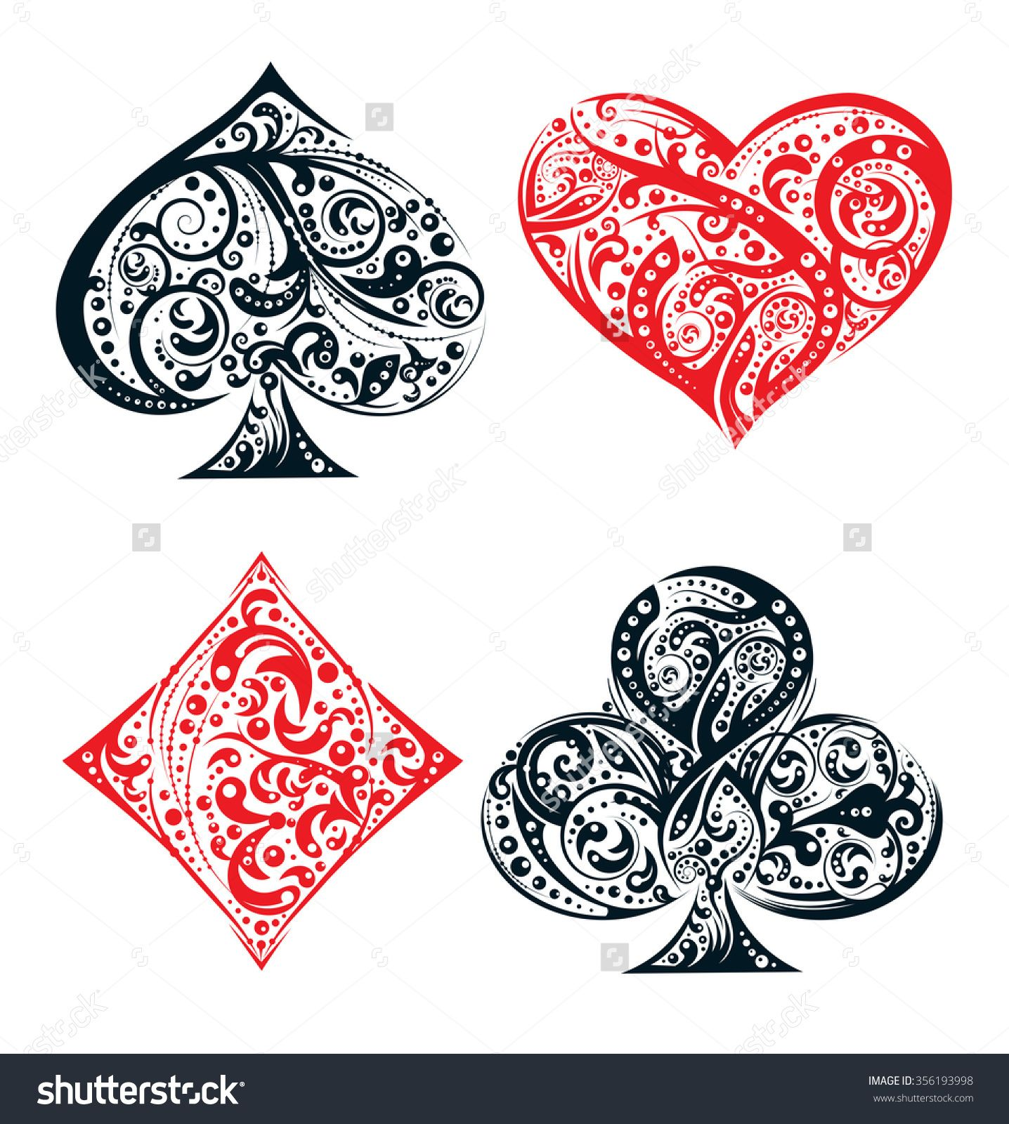 Stock vector set of four vector playing card suit symbols made by set of four vector playing card suit symbols made by floral elements vintage stylized illustration in black and red on white background biocorpaavc