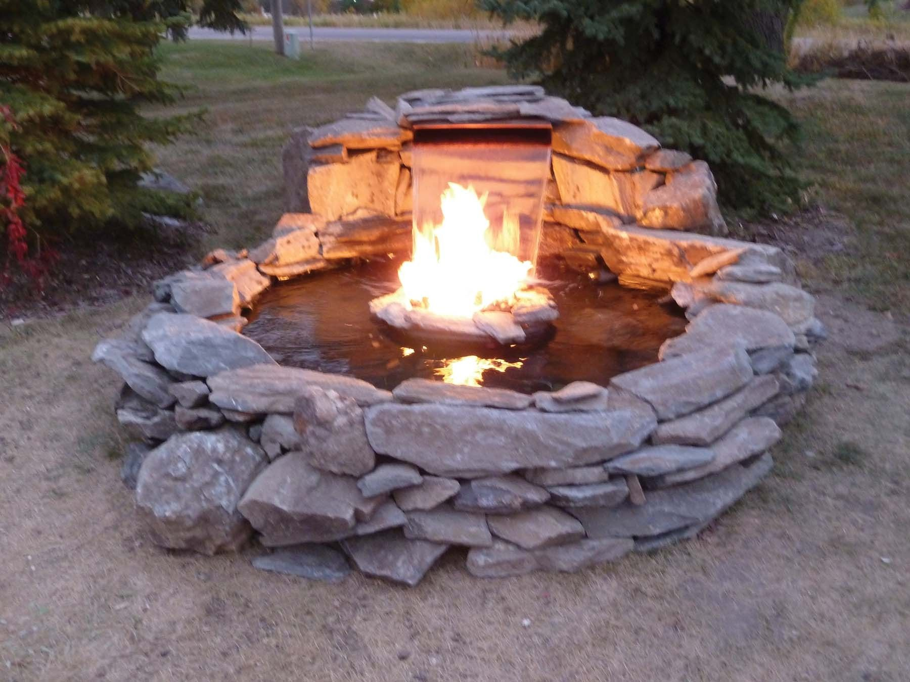 Fire And Water Kit Round Waterfalls Backyard Fire Pit With
