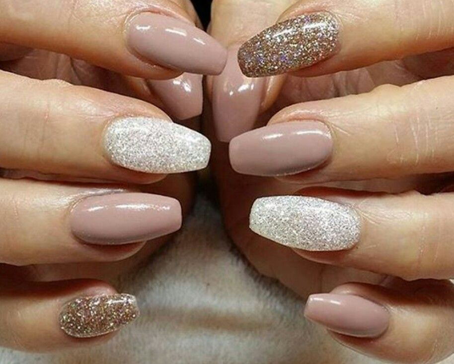 Nude and sparkly! Love it♡   Makeup, nails & skin care!   Pinterest ...