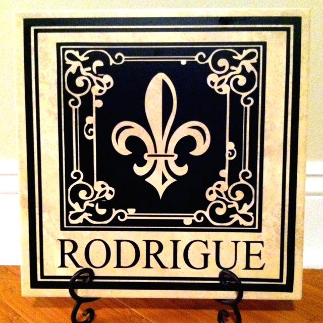 12x12 Fleur De Lis Monogram On Porcelain Tile With Easel 25 Decorative Monogram Silhouette Crafts Wedding Cake Pull Charms