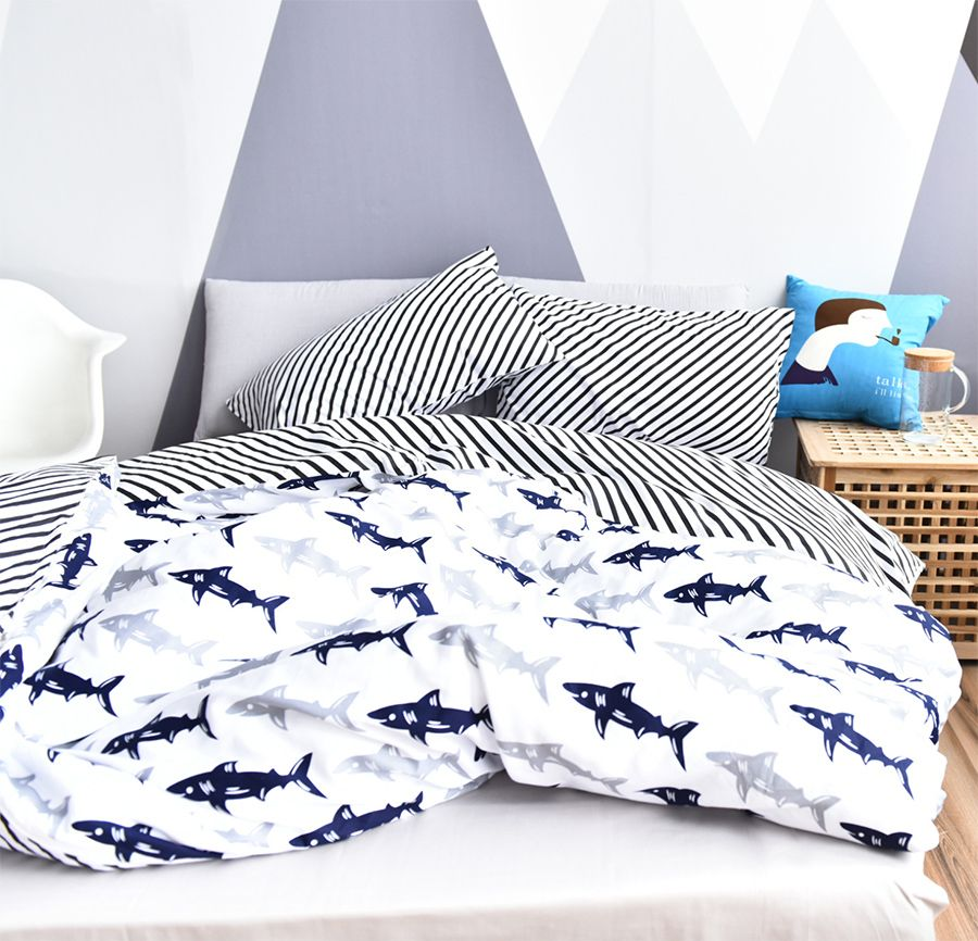 Awesome Cartoon Fish Bedding Set Adult Teen Kid Man Boy,cotton Twin Full Queen  Character Home