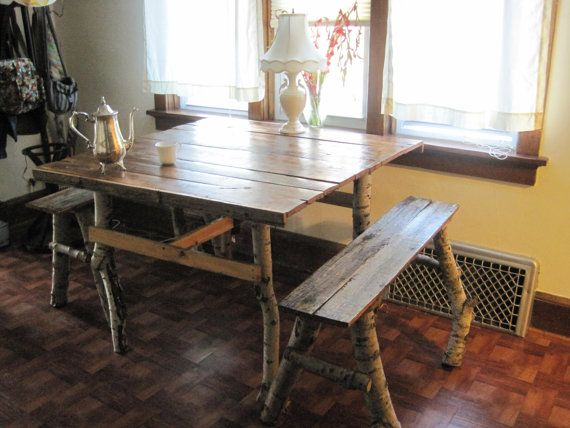 handmade birch dining table made with reclaimed barn timbre for top rh pinterest com