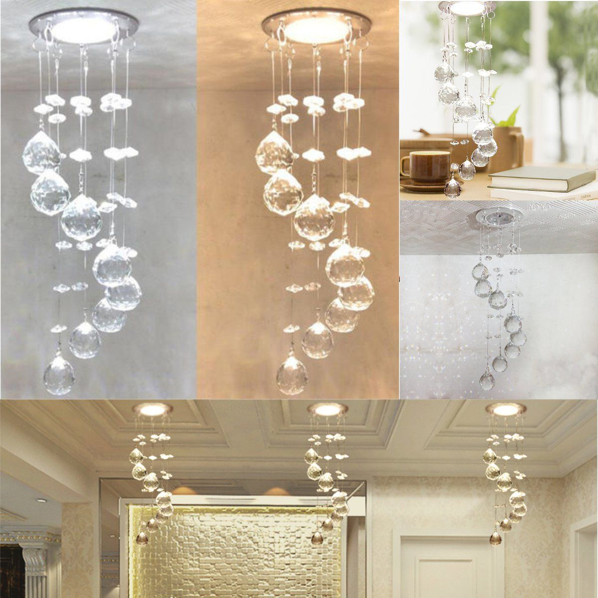 3w Led Crystal Concealed Ceiling Light Small Chandelier Lamp Pendant Hallway Small Chandelier Ceiling Lights Crystal Ceiling Light