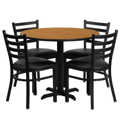 36 round laminate table set of 4 ladder back metal chairs black rh pinterest co uk