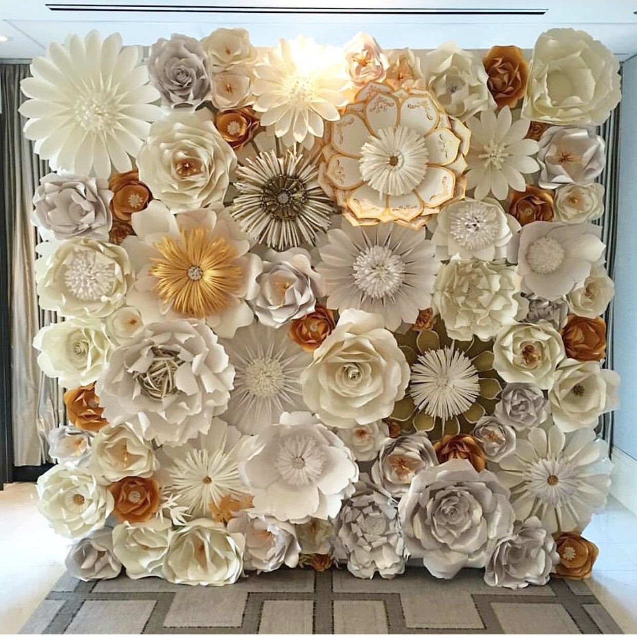 Paper Flower Wall, custom and handmade to order. 8X 10 Can