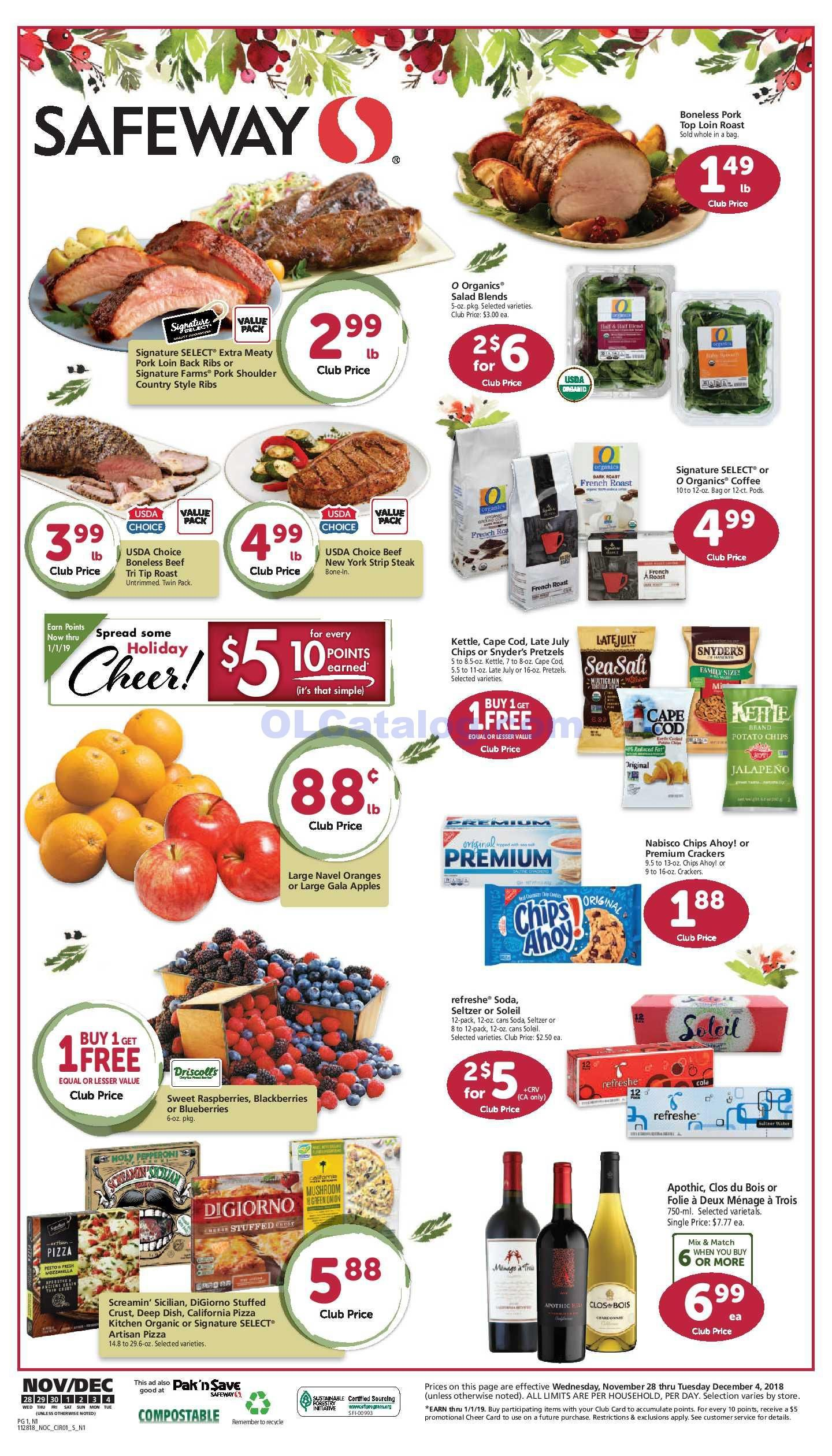 Safeway Weekly Ad November 28 December 4 2018 Find Latest Safeway Weekly Ad Circular For Safeway Near Me You Will Find The Digital Coupons Grocery Savings