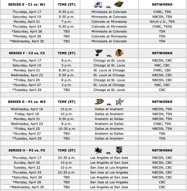 Your 2014 Stanley Cup Playoff first-round TV schedule