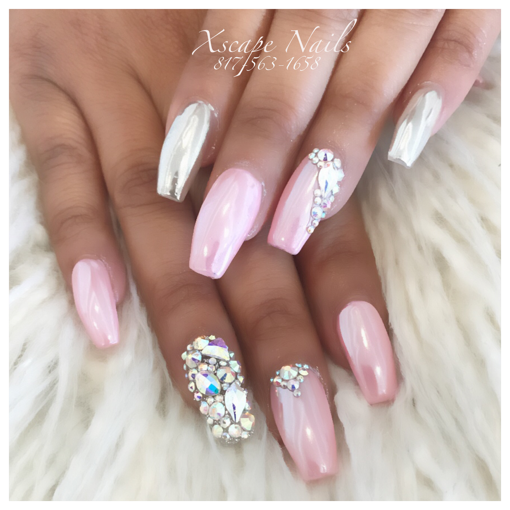 Pink chrome nails   Cute Nails Designs   Pinterest   Pink ...