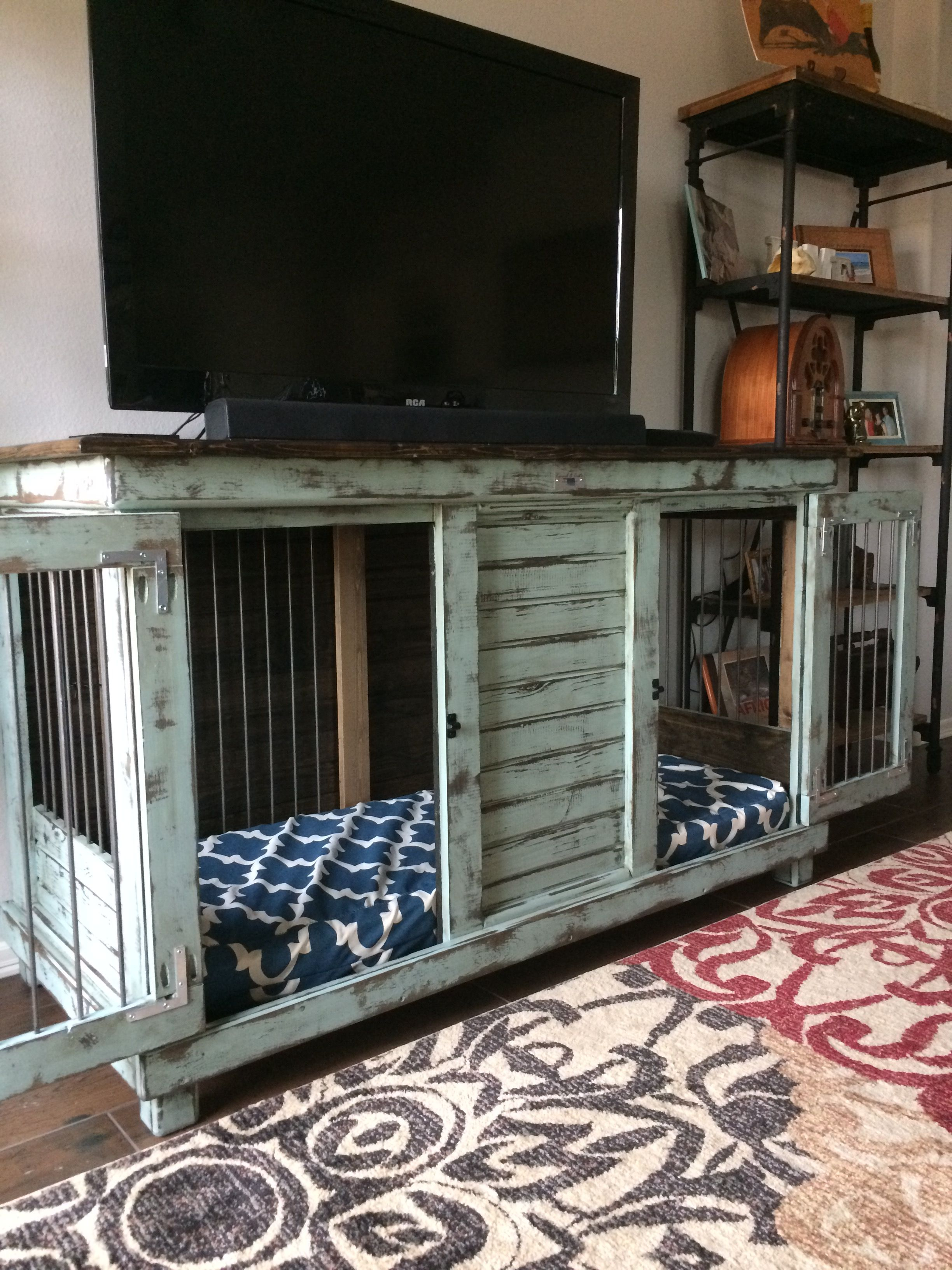 Double Dog Kennel Perfect For An Entry Table Tv Stand