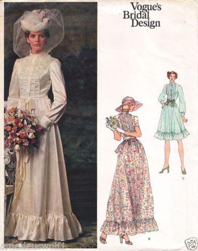 Vintage 70\'s VOGUE BRIDAL DESIGN 1071-EDWARDIAN WEDDING DRESS Sewing ...