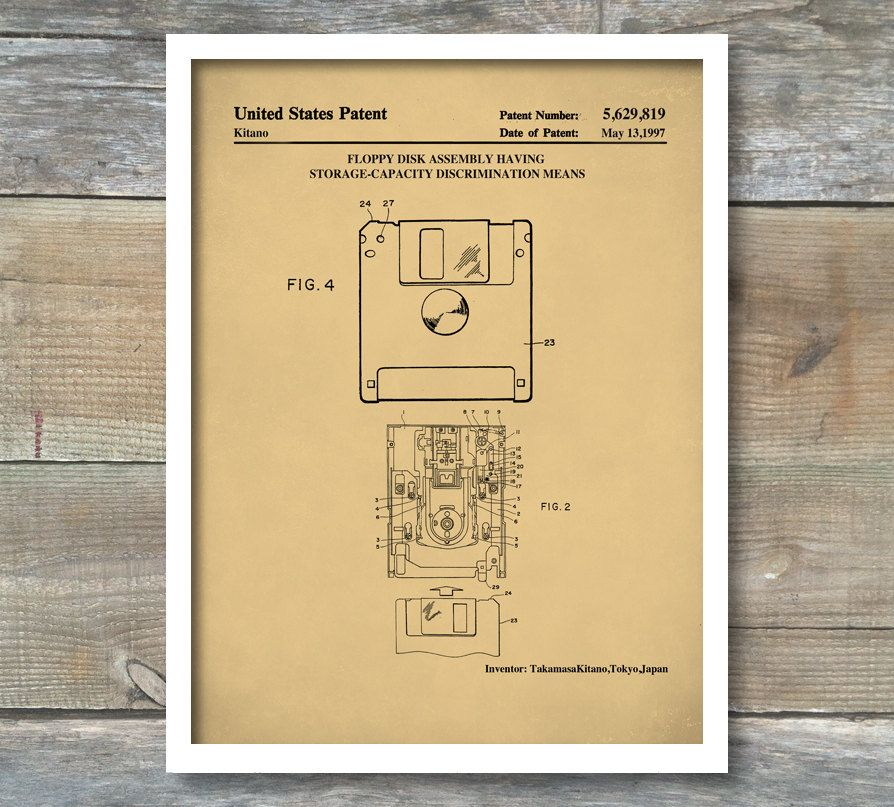 Patent Print 3 5 Inch Floppy Disk Patent Wall Decor Etsy Patent Prints Kitchen Wall Art Patent Drawing
