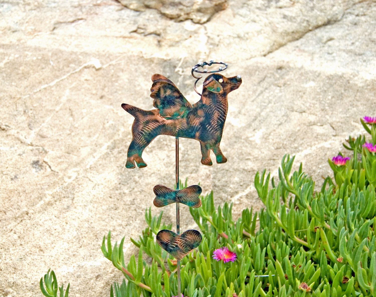 Jack Russell Pet Memorial Metal Garden Art Stake, Garden Dog Memorial Marker, Grave Marker, Dog Sculpture Copper Pet Memorial,
