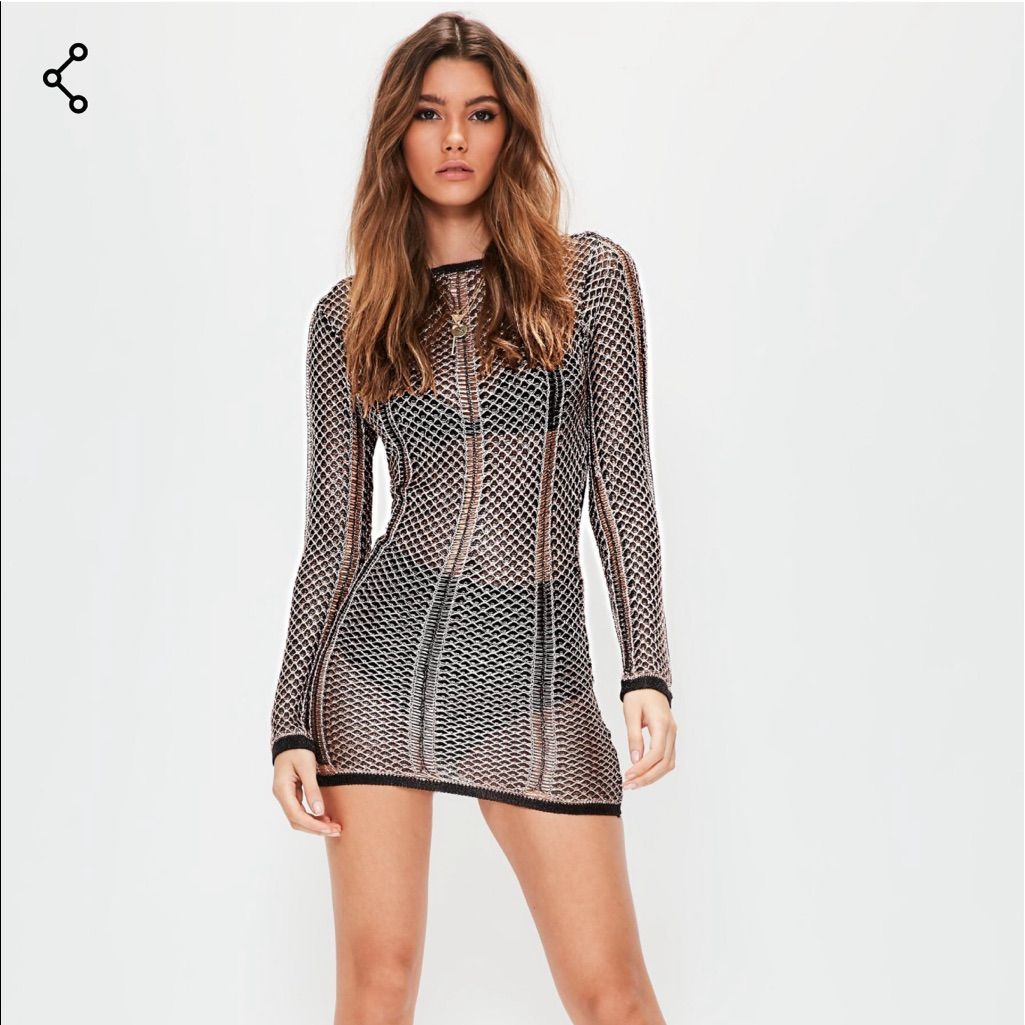Black metallic knitted mini dresscover up products pinterest