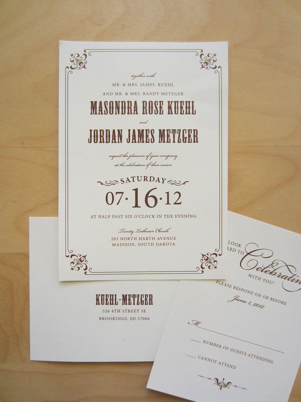 Rustic Wedding Invitation Ensemble 295 via Etsy
