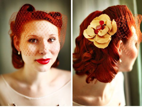 Red Birdcage Veil With Yellow Flower