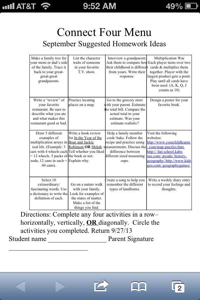 homework suggested activities fifth grade connect four choice rh pinterest com