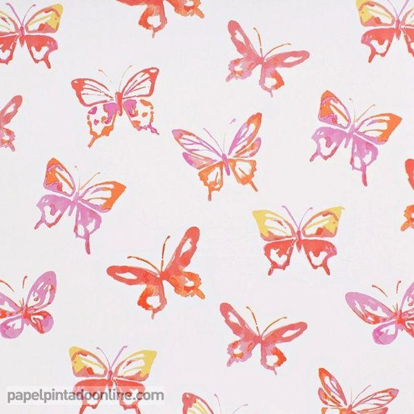 Papel pintado infantil summer camp 7275 01 01 con dibujos - Papel pintado mariposas ...