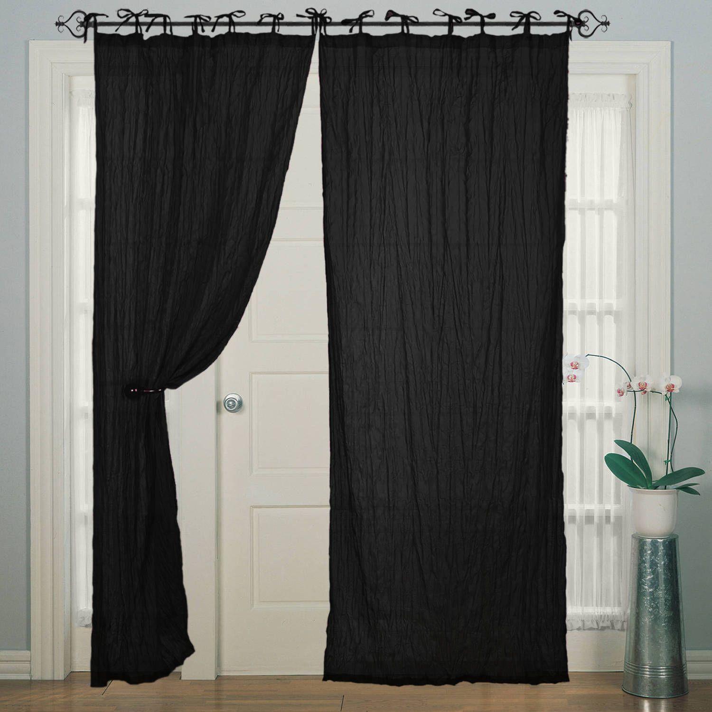 Tie Top Cotton Piping Black Window Door Curtain For Bedroom