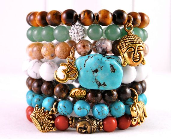 Chic Stackable Summer Beaded Bracelets With Buddha Elephant Om Crown Turquoise Gold Like Charms Bronzite Jade Jasper