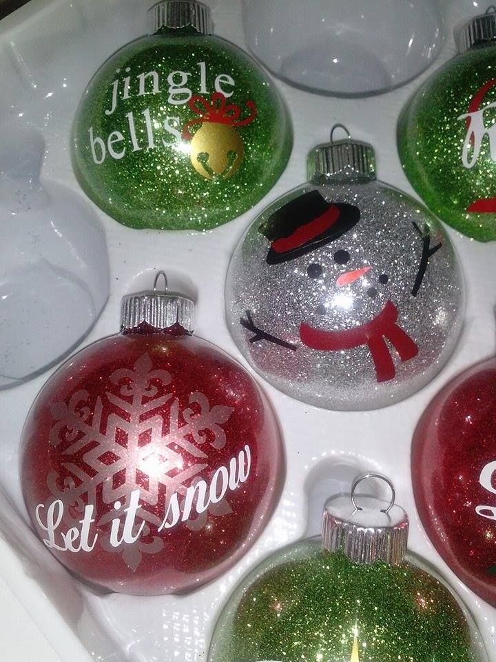Ornaments made with my Cricut and vinyl Diy christmas