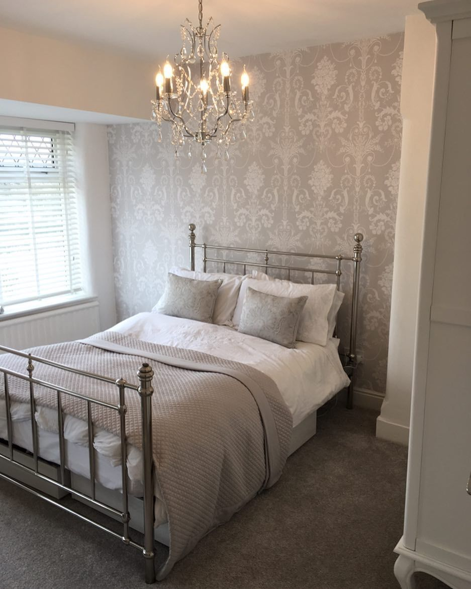 Love Love Love Our New Bedroom! #lauraashley #josette #dovegrey #houserenovation #homeiswherethehearti… | Guest Bedrooms, Guest Bedroom Decor, Master Bedrooms Decor