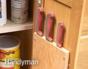 Get back your counter space with this easy, DIY project. Build a cabinet knife rack to replace those bulky blocks! Click for the how-to instructions plus 10 other quick kitchen organization tips!